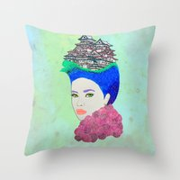 japan Throw Pillows featuring Japan by Luna Portnoi