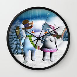 Funny, cute snowman and snow women Wall Clock