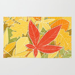 Hand drawn autumn illustration with various colorful fallen leaves. Rug