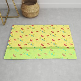 Rubber boots and Umbrella in the rain Pattern Rug