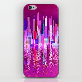 pink city over the sea iPhone Skin