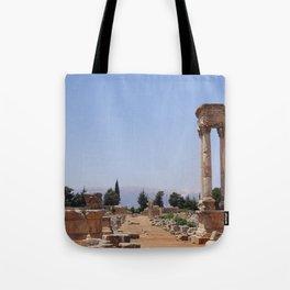 Ruins - Pillars & Mountains  Tote Bag