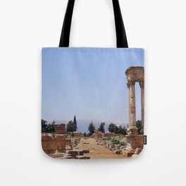 Ruins - Pillars & Mountains  Tote Bag