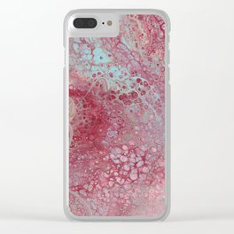 Cherry Blossom Marble Clear iPhone Case