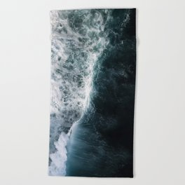 Oceanscape - White and Blue Beach Towel