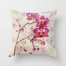 beauTEAful blooms: Orchids Throw Pillow