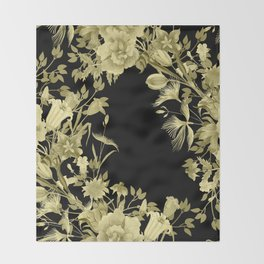 Stardust Black and Gold Floral Motif Throw Blanket