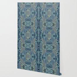 Tropical Art Deco 1.1a Blue, Green, Gold Wallpaper