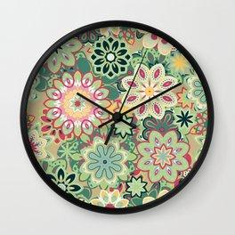 Retro kaleidoscope flower background pattern. Boho mandala ornate. Wall Clock