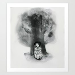 Little girl with a pig under a tree. Art Print