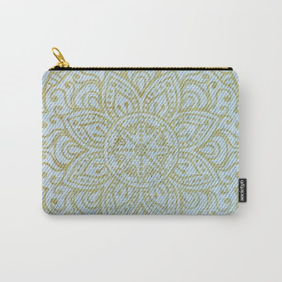 Gold Mandala on Light Blue Jeans Carry-All Pouch