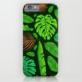 Jungle Leaves and Feather Pattern Sophisticated Design iPhone Case