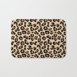 Leopard Print, Black, Brown, Rust and Tan Bath Mat