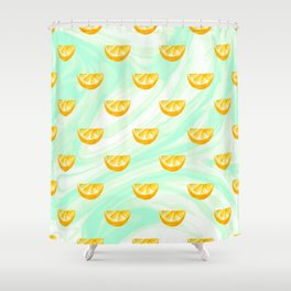 Summer watercolor oranges and marbleized design Shower Curtain