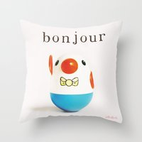 bonjour Throw Pillows featuring Bonjour! by giftedfools design studio