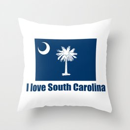 flag of south carolina – I love south Carolina Throw Pillow
