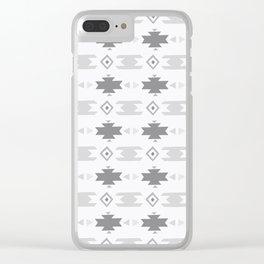 Southwestern Pattern Gray Cream Clear iPhone Case