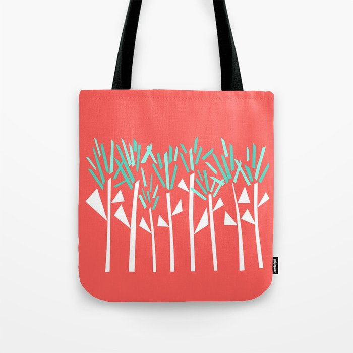 Coral and Teal Botanical Collage Print Tote Bag
