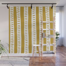 Lines - ochre and white Wall Mural