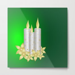 Shiny candles and flowers Metal Print