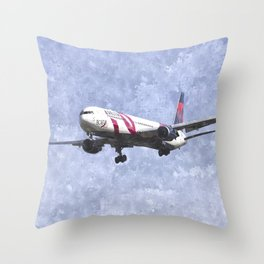 Delta Airlines Boeing 767 Art Throw Pillow