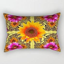 YELLOW SUNFLOWER PURPLE FLORAS CELTIC ART Rectangular Pillow