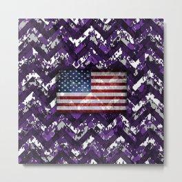 Purple Digital Camo Patriotic Chevrons American Flag Metal Print