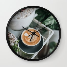 Latte + Plants II Wall Clock
