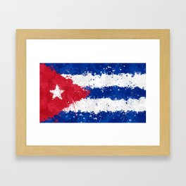 Cuba Flag - Messy Action Painting Framed Art Print