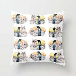 Sushi cat pattern Throw Pillow