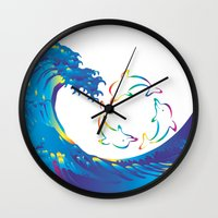 hokusai Wall Clocks featuring Hokusai Rainbow & rotating dolphins_D by FACTORIE