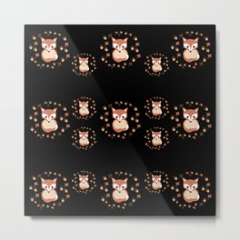 foxes in autumn. Pattern. Metal Print