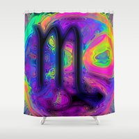 scorpio Shower Curtains featuring Scorpio by Synesthetic
