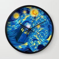 fandom Wall Clocks featuring Blue Phone box Starry the night iPhone 4 4s 5 5c 6, pillow case, mugs and tshirt by Three Second