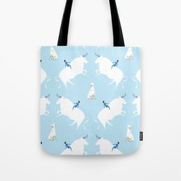 The Boy, the bull and the dog, blue Tote Bag