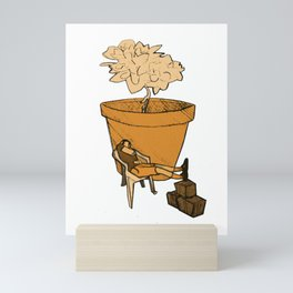 Nap at the plant Mini Art Print