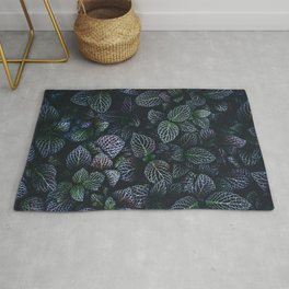 Green and Purple Leaf Pattern Rug