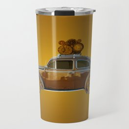 Steampunk gold car Travel Mug