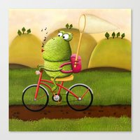cycling Canvas Prints featuring Cycling by Rozalek