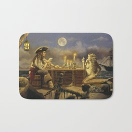 """The Wager"" by David Delamare (Pirate and Mermaid playing cards) Bath Mat"