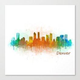 Denver Colorado City Watercolor Skyline Hq v3 Canvas Print