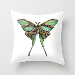 Steampunk Green Luna Moth Throw Pillow