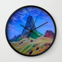 mountain Wall Clocks featuring Mountain by ArtSchool