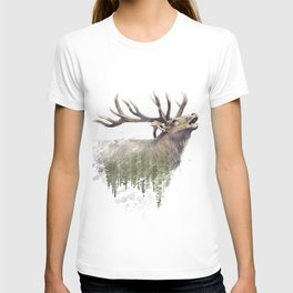 Deer and Forest. Watercolor Double Exposure effect on white background.Digital painting. T-shirt
