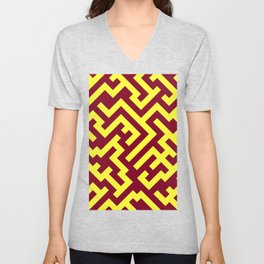 Electric Yellow and Burgundy Red Diagonal Labyrinth Unisex V-Neck