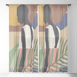 Tropical Girl 2 Sheer Curtain