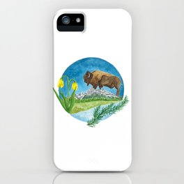Bison Respect: Yellowstone Flora and Fauna iPhone Case
