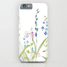 purple blue wild flowers watercolor painting iPhone Case