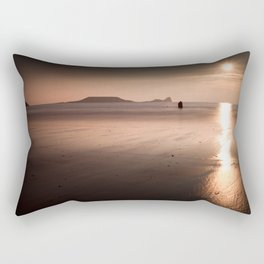 Sunset and wet sand at Worms Head, Gower, Wales Rectangular Pillow