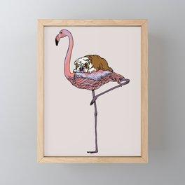 Flamingo and English Bulldog Framed Mini Art Print